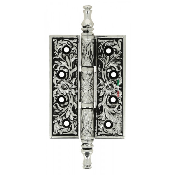 Дверная петля универсальная Extreza 6110 латунная с узором 102x76x4 натуральное полир. серебро + черный F24 (1 шт)
