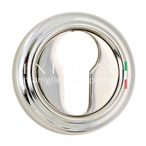 Накладка дверная Extreza CYL под цилиндр R01 натуральное полир. серебро + черный F24